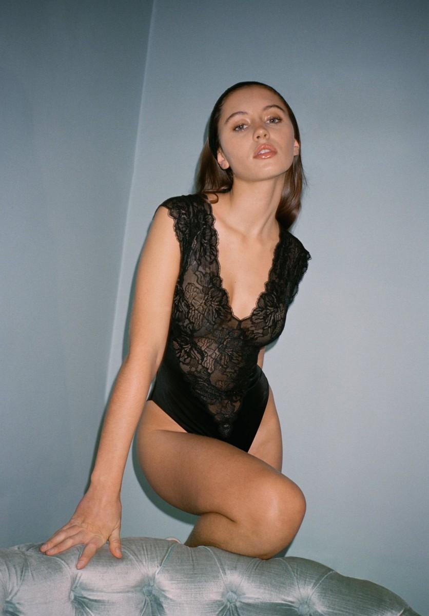 1615234689914789 lofficiel interview Iris Law Shot by Indigo Lewin wearing La Perla 80 s Archive Collection Bodysuit 2