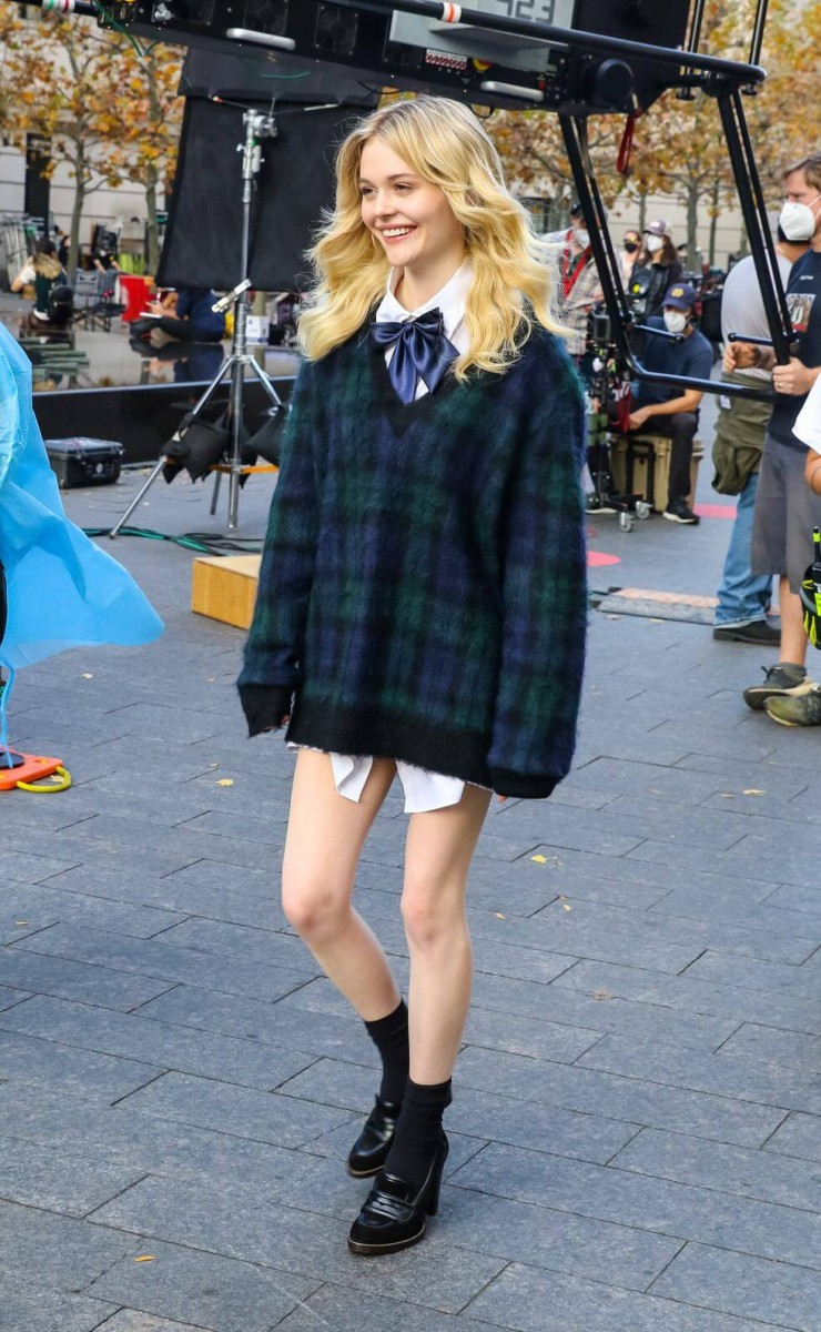 emily alyn lind is seen at the film set of the gossip girl news photo 1617035797